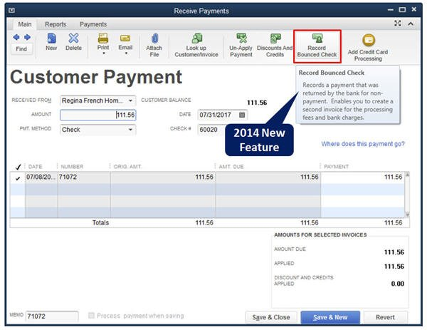 Slide 1 - QuickBooks 2014 Bounced Check Feature