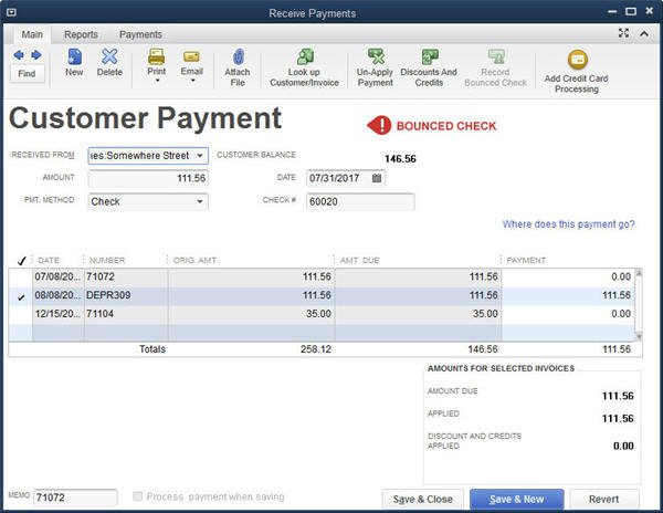Slide 4 QuickBooks Bounced Check Feature