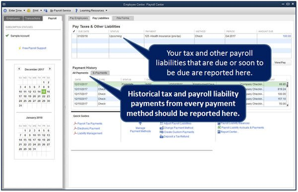 Slide 2 QuickBooks 2014 Payroll Center Liabilities Tab