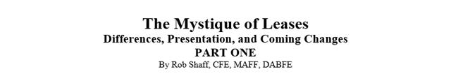 Mystique of Leases - Part 1 Title