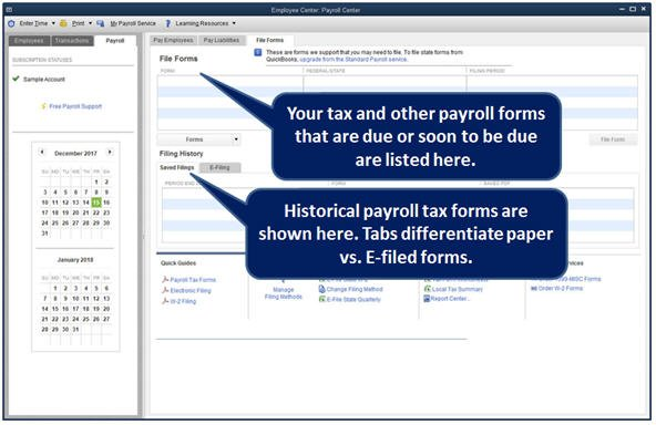 Slide 3 - QuickBooks 2014 Payroll Center File Forms Tab