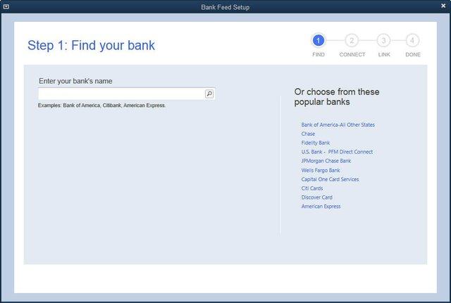 QuickBooks 2014 - Bank Feeds Set-up Step 1