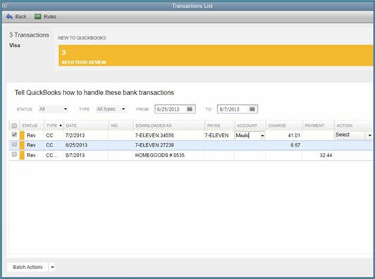 QuickBooks 2014 - Bank Feeds - Handling Your Transactions