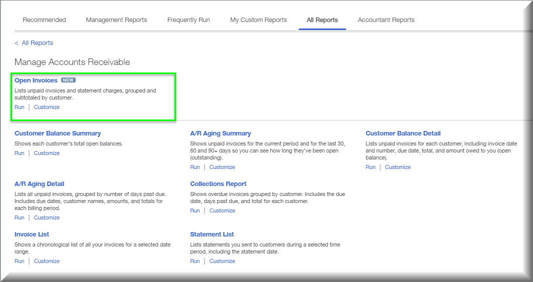 Newly Revised Reports In QuickBooks Online Insightfulaccountantcom - Open invoice report