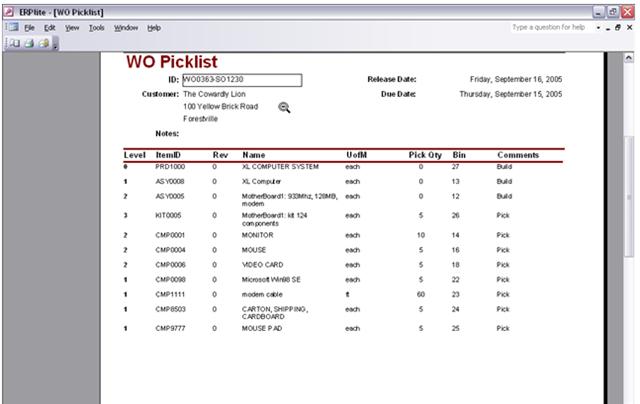 ERPLite Work Order Pick List