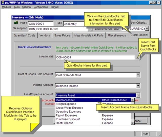 pcMRP - QB Item integration