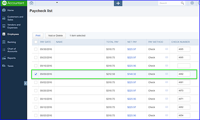 Voiding a payroll check in quickbooks