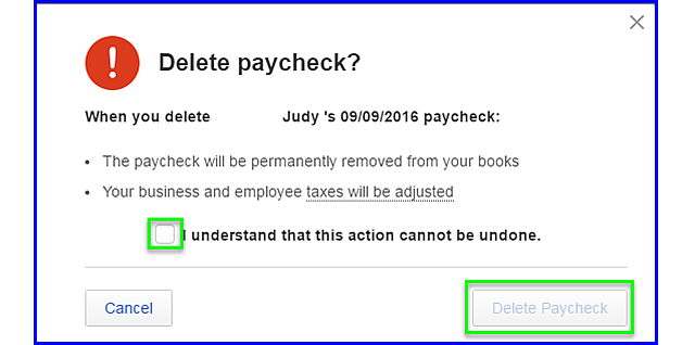 QBOP - Delete Paycheck final step