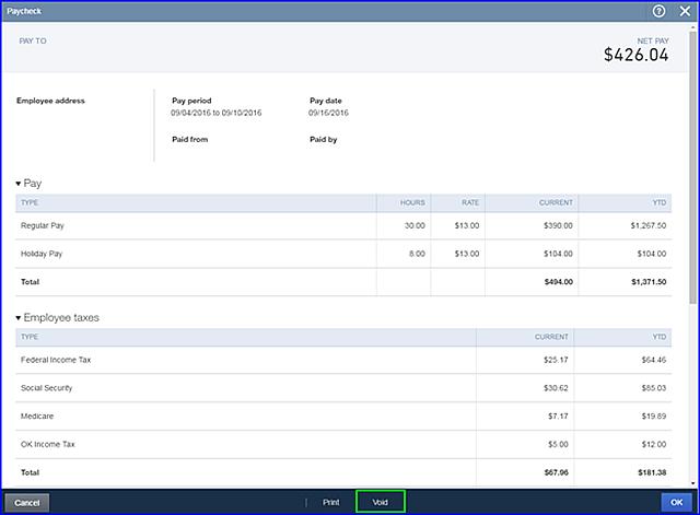 QBOP - Void Direct Deposit Payroll fig 2