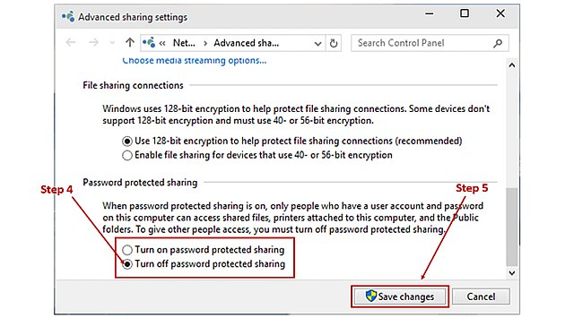 Windows 10 Turn-off password protected sharing