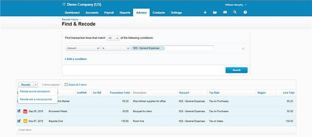 Xero Find & Recode feature