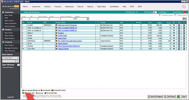 AdvancePro - Assembly SKU List