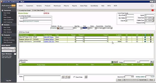 AdvancePro - Manuf Work Order Open