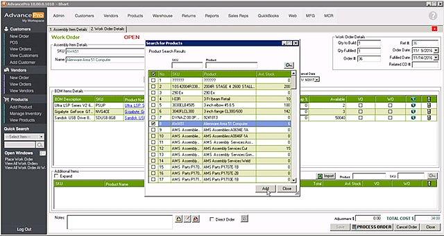 AdvancePro Manuf Work Order Modify