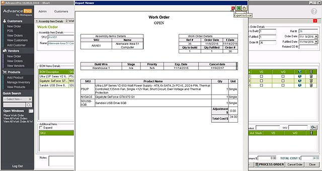 AdvancePro - Print Manuf Work Order