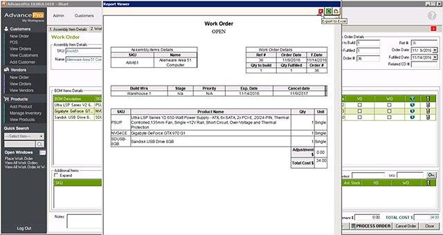AdvancePro - Print Manuf Work Order
