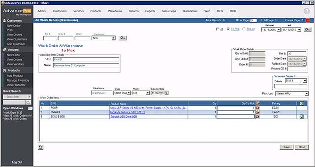 AdvancePro - Pick Components for Mfg.