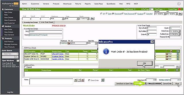 AdvancePro - Finalize Work Order