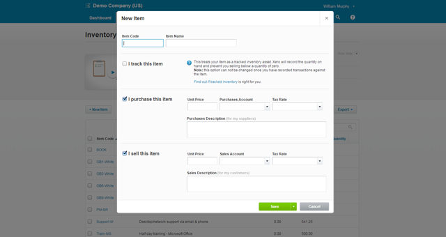 Xero Item - 2-sided by Default