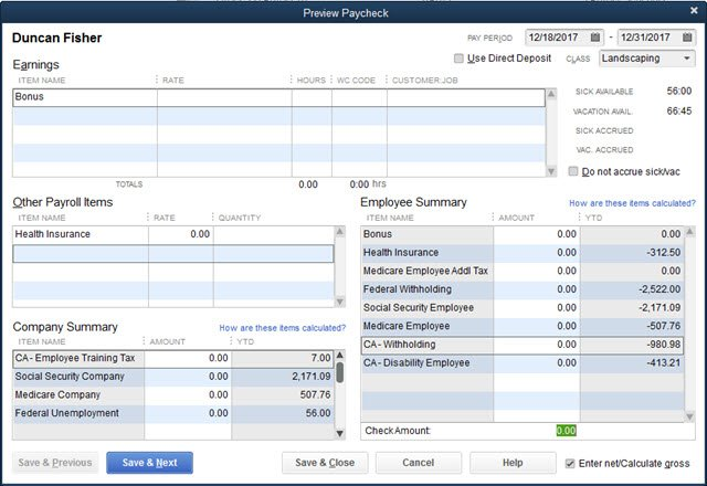 Open Paycheck Net Check Amount