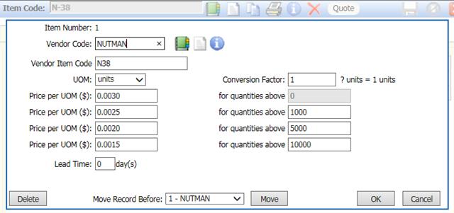 ManuDyn - Vendor Item Details