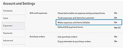 QBO Billable Expenses - settings