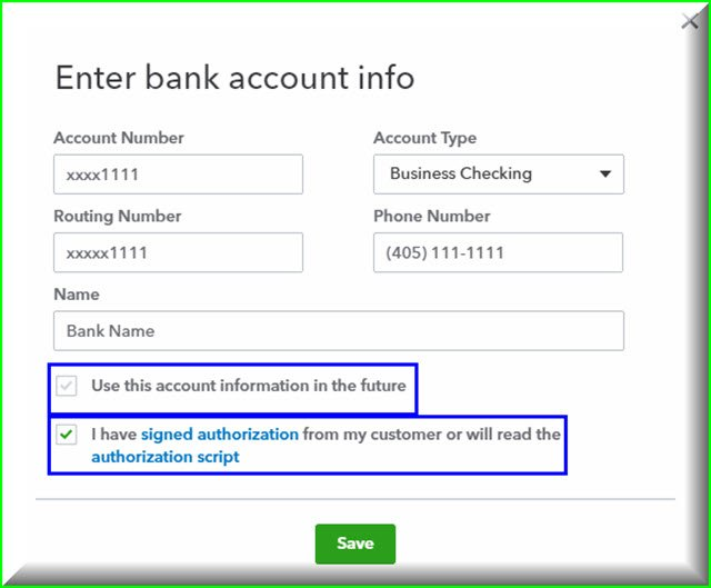 Enter Bank Account info
