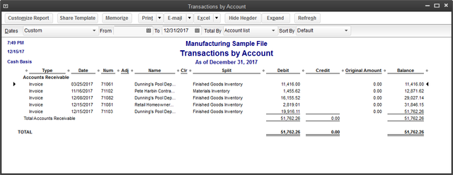 Cash basis conversion report