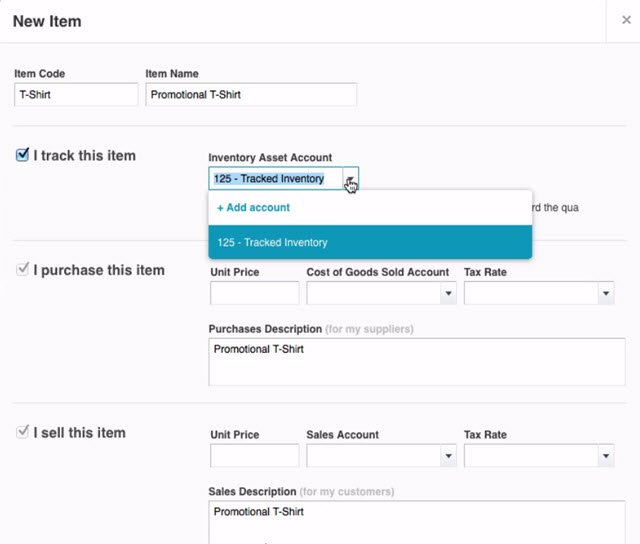 Xero Inventory asset tracking account
