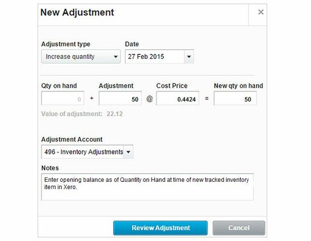 Xero Inventory adjustment (rev)