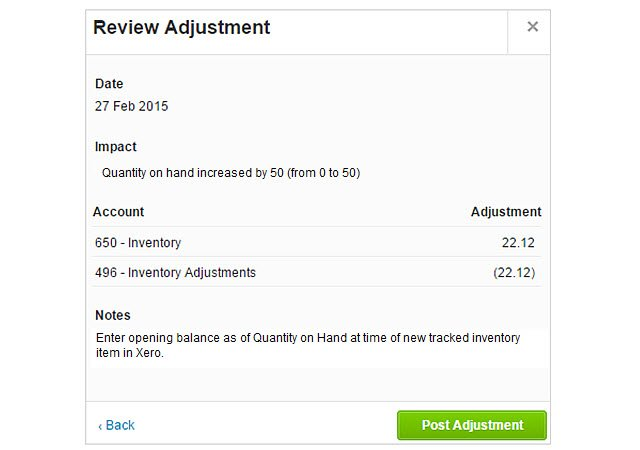 Xero Inventory Adjustment Review