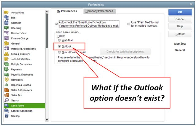 What If: Outlook Isn't an Option in My QuickBooks Desktop