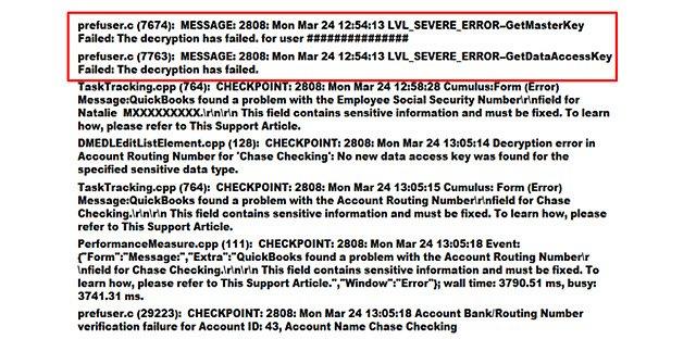 Decryption failure per QBWin file