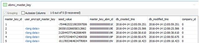 ABMC_MASTER_KEY table