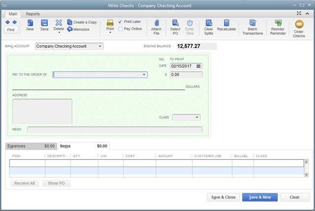 Check form - Item tab