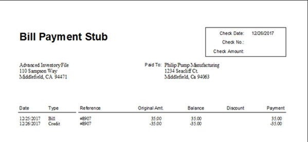 dollar general check stubs QuickBooks 2014 - Credits on Bill Payment Stubs - Wonderful or Weird ...