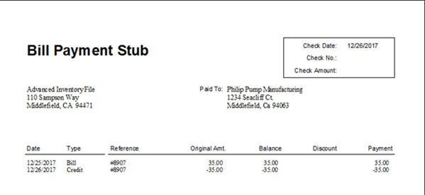 Bill Payment Stub