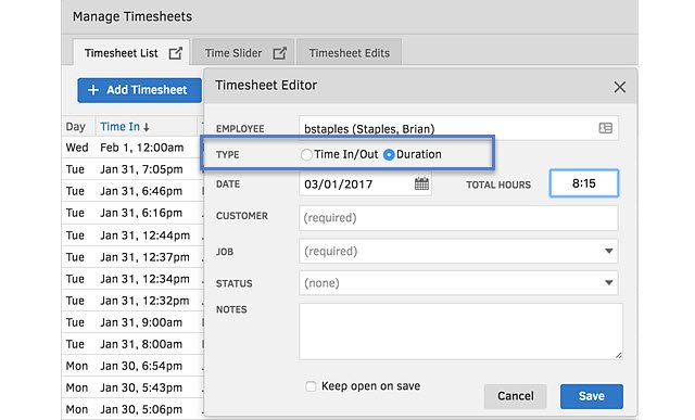 TSheets Duration Option