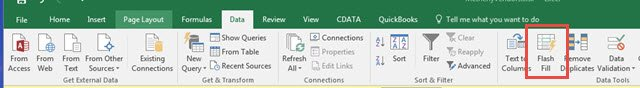 Flash Fill feature on Excel Data tab