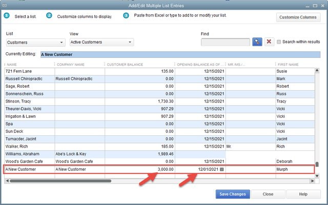 Using QuickBooks Add/Edit Multiple List Entry for Opening Balances