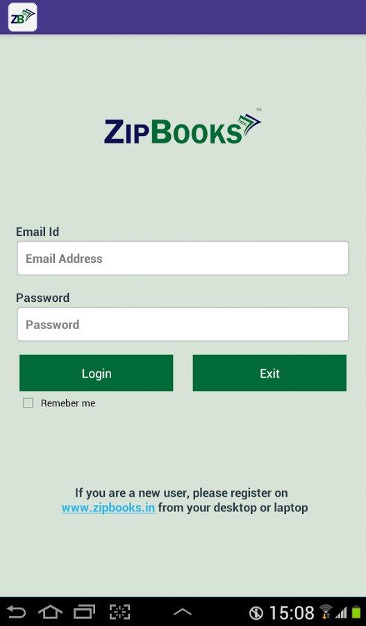 ZipBooks app in action
