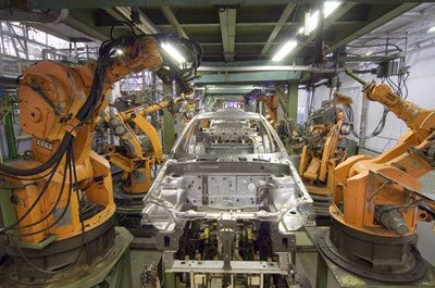 Industrial robots in vehicle assembly plant