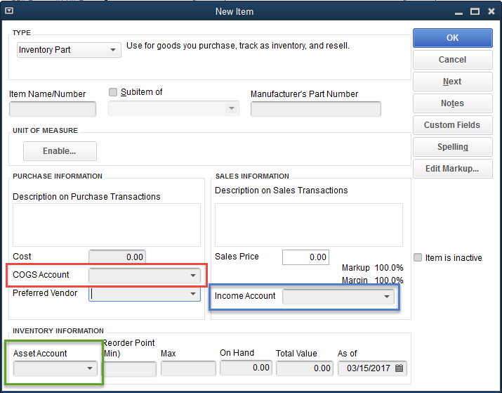 how to add inventory part in quickbooks