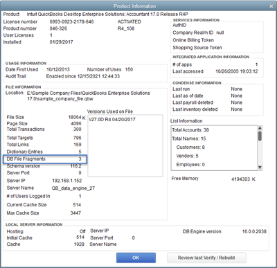 QuickBooks F2 Product Info window