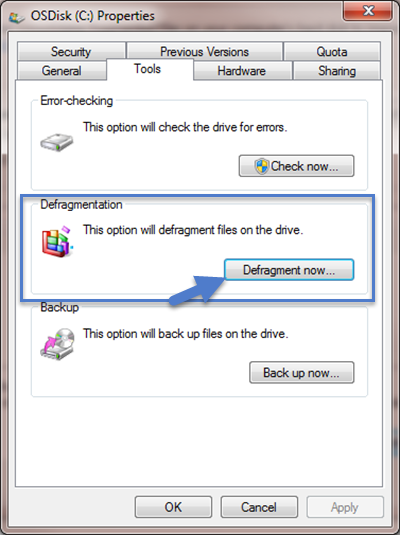 Windows Defragmentation Tool