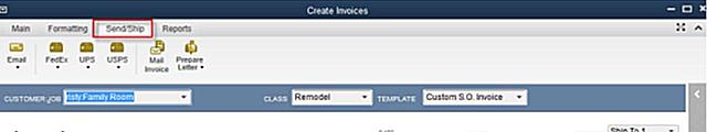 QBDT Transaction ribbon Send-ship tab
