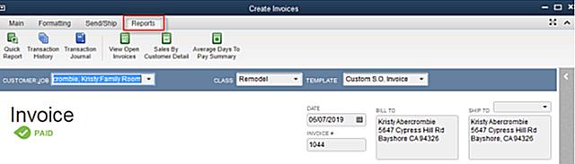QBDT Transaction ribbon Reports tab