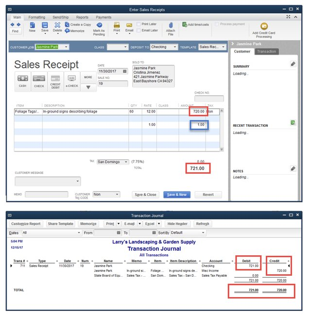 OOB Sales Receipt & Transaction Journal