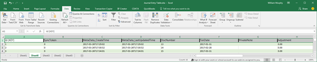QBO JournalEntry table extracted to Excel