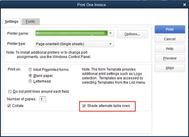 invoice shading option